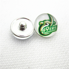 10pcs NCAA Charlotte 49ers snap buttons Glass 18mm Sports buttons Diy Snaps Jewelry Bracelet&bangles charms(China)