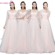 beautiful brides maids light pink bridesmaids dresses with lace long sleeves for wedding occasion different styles B3886(China)