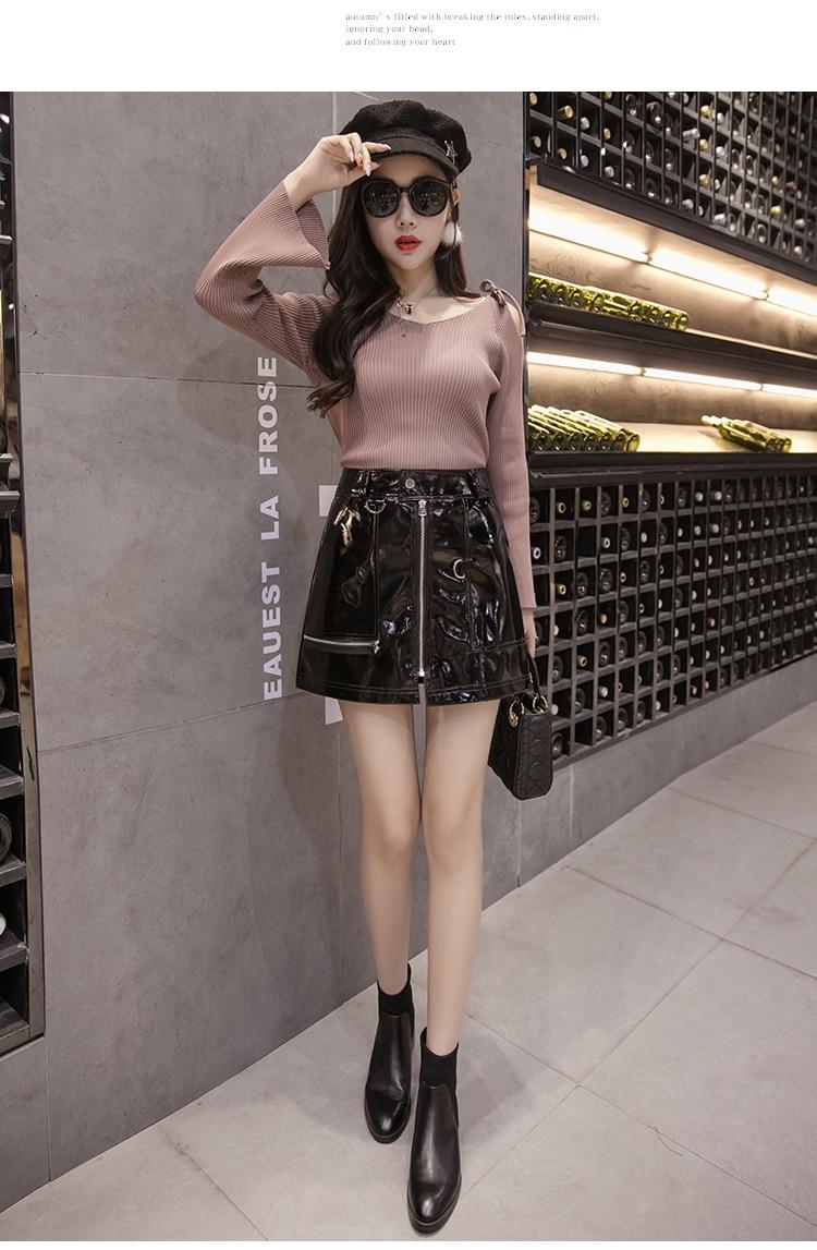 La MaxPa 2017 Street Punk Womens Skirt Bright PU Leather Front Zippers Mini Female Skirts High Waist Slim Short Plus Size Saias