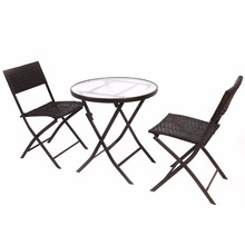 GOPLUS 3PCS Wicker Rattan Outdoor Dinning Table Chair Set Patio Furniture Folding Backyard Ratten Garden Set for Home HW51711(China)