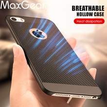 MaxGear Ultra-thin Cooling Breathing Phone Case For iPhone 7 7 Plus Hollow Hard PC Mesh Case For iPhone 5 5S SE 6 6S Plus Cover(China)