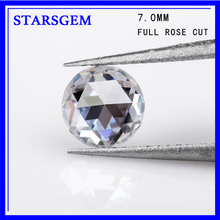 Synthetic diamonds EF white colorless 7mm single rose cut moissanites loose gems stones for jewelry making