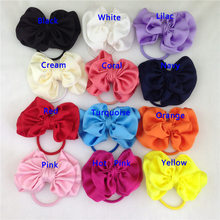 XIMA New 3.5inch Solid Satin Hairbow with Same Color Elastic Band for Ponytail Holder Kids Hair Accessories 12pcs/lot