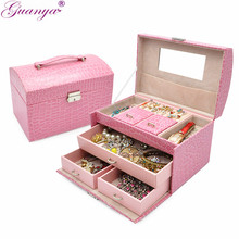 guanya Queen style factory outlets fine jewelry boxes Stylish PU leather necklace earings ring holder carrying case girl gift(China)