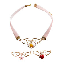 2017 fashion jewelry accessories metal enamel angel wing star heart Card Captor Sakura necklace