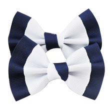 1 Pc 3 Inch Boutique Grosgrian Ribbon Hair Bow Clip For School Little Girl Hair Accessories Kids Hairbow Headwear