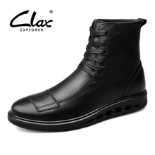 CLAX Men's Winter Boot Warm 2017 Genuine Leather Boots Male Fur Snow Shoes High Top Handmade Casual Footwear Large Size