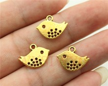 WYSIWYG 15pcs 16*13mm antique gold cute bird charms