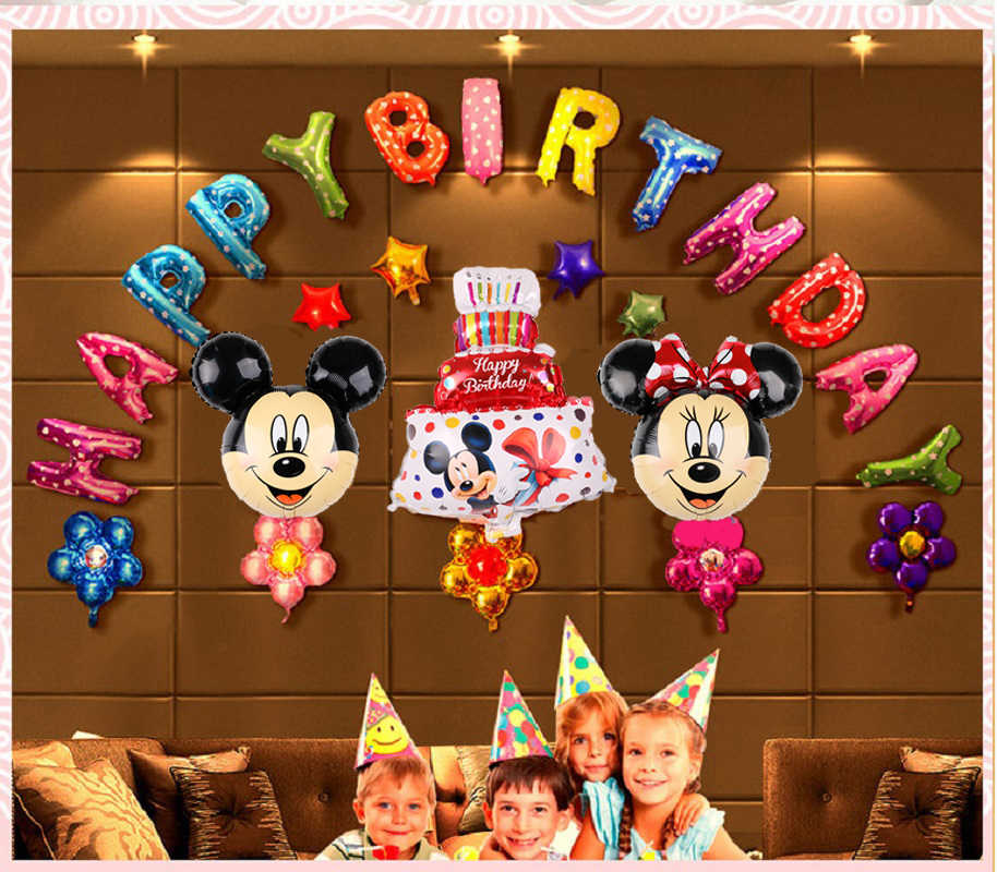28pcs Mickey Minnie foil balloons Minnie mouse birthday party decorations  Happy birthday Baby shower letter Alphabet air balls