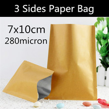 Wholesale 200pcs 7cm * 10cm Small Heat Seal Kraft Paper Bag Vacuum Cereals/Spice/Tea/Coffee Beans Bag(China)