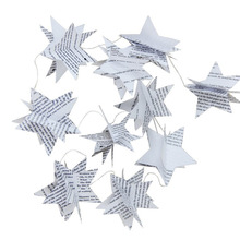 Buy Book Pages Recycled Book Garland Newspaper Star Garland Bunting Party Holiday Christmas Nursery Banner Wedding Garland Decor for $1.68 in AliExpress store