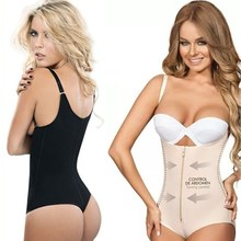 Buy NINGMI Strap Bodysuit Shaper Latex Rubber Waist Trainer Cincher G-string Thong Women's Postpartum Zipper Hook Underwear Shapers