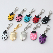 10pcs /Lot, Mixed Bulk Colors Brand New Fashion Beetles Ladybug Pocket Pendant Key Ring Chain Quartz Dress Watches GL02KMT(China)