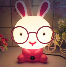 Cute Night Light Baby Room Wearing Glasses Rabbit Cartoon Night Sleeping Light For Children's Bed Lamp Night Sleep Creative Lamp