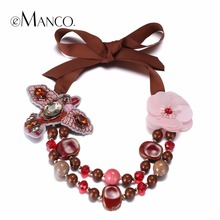 eManco Stylish Romantic Charming Flower & Bird Choker Necklaces for Women Red Crystal Resin Ceramics Fashion Jewelry