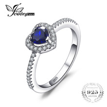 JewelryPalace Heart Of The Ocean 0.6ct Created Blue Sapphire 925 Sterling Silver Ring For Women 2016 Wedding Rings Fine Jewelry(China)