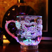 2016 Skull Glass Jar With Handle Ktv Light Emitting Bar Supplies | New Colorful Induction Luminous Cup Into The Water Dragon
