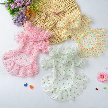 3 Color 2016 New Summer Dog Clothes  printing Cute Princess  Dress Sunscreen clothing Dog For Pet Clothes Supplies C30
