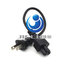 Hot USA UL Canada US 2pin male to IEC 320 C5 Micky Short travel Power cord for notebook Power supply,1 pcs(China)