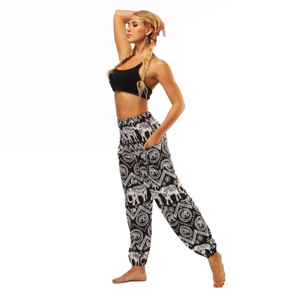 TL008- Black and white elephant wide leg loose yoga pants leggings (5)