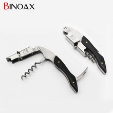 Binoax Ebony Wood Handle Stainless Red Wine Corkscrew Double Hinge Waiters Wine Bottle Beer Cap Opener #P01016#