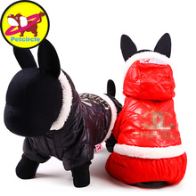 Hot Sale Leather Pet Dog Clothes Winter Waterproof Dog Coats Warm Jackets For Chihuahua Size XXS XS S M L Red And Black(China)