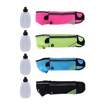 4 Colors Waterproof Sport Waist Bag Mobile Phone Holder Jogging Belt Bag Running Bag neoprene With Two Water Bottles(China)