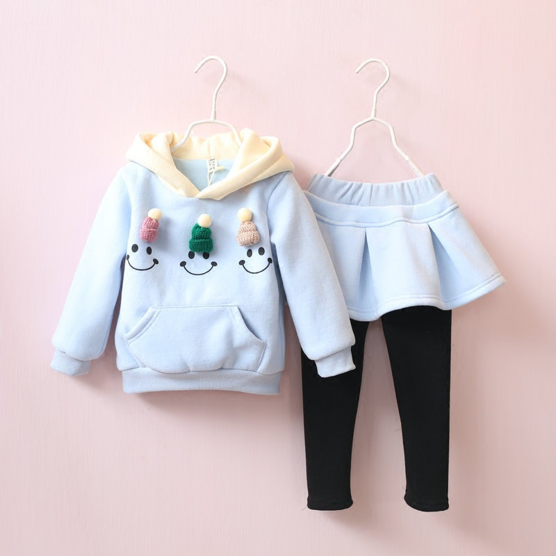 Christmas Girls Clothing Sets Children Clothing Cartoon Patchwork ThickenSweatshirts+Fleece Skirts Pants 2pcs Kids Clothes Sets<br><br>Aliexpress
