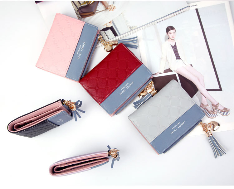 2018 Fashion Ladies Wallet Female Short Zipper Coin Purse Small Wallets Young Womens Tassel Hasp Purses Button Card Holder Pouch 66