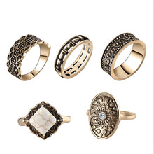 Free Shipping 2017 Neo-Classic Flute Rings 5-Piece Magazine Star Style Big Rings Set Festivals Gifts Tide Ring
