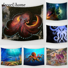 DecorUhome Fantasy Octopus Wall Hanging Decor Ocean Fish Whale Printed Carpets Home Decor Hanging Living Printing Wall Tapestry