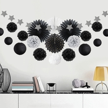 Black Party Decoration Kit Circle Garland Polka Dots Paper Fans Lanterns Pom Poms for Wedding Princess Birthday Party Showers