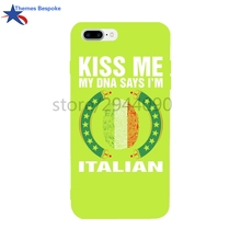 Fingerprint DNA Says I Am Italian For Iphone X/6s Plus/8plus Soft TPU Anti-knock For Iphone 7/6 Glaze Candy Color 4.7/5.5Inch(China)