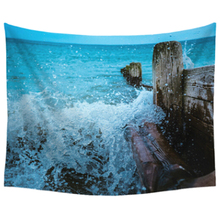 150*130cm Tapestry Home Decorative Polyester Beach Towel Fashion Sofa Wall Decor(Blue waves)(China)