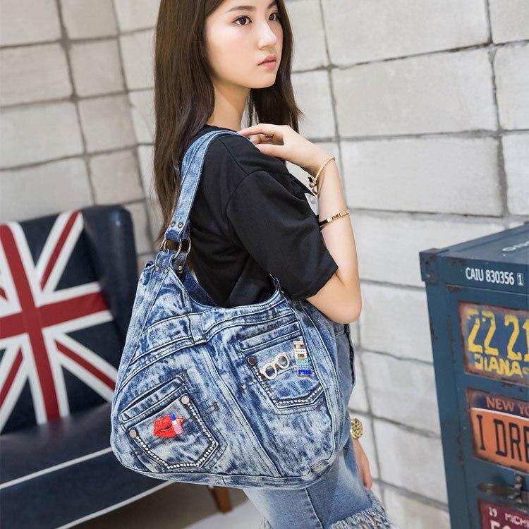 Woman 2016 Korean New Pattern Oblique Satchel Single Shoulder Package Cowboy Canvas Bag Package Leisure Womens Bag Postal<br><br>Aliexpress