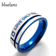 Bluelans Unisex Blue Love Only You Cross Titanium Steel Engagement Wedding Band Ring(China)