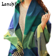 Brand Sale Cashmere Woolen Fashion Scarf Shawl Plaid Tassel Warm Winter For Women Girl Scarves Cool Thickening Pashmina Cachecol(China)