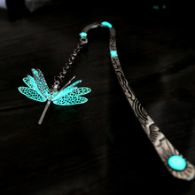 Dragonfly BOOKMARK GLOW in the DARK fashion classics Sun moon and Stars Three layer handmade metal alloy bookmark 123*23MM(China)