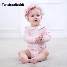 2017 Baby Girls Bodysuits Newborn Clothes Spring Lace Underwear Autumn Cotton Children Clothes Infant Costumes Toddler Bodysuit(China)