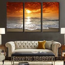 Modern Modular Beach Seaview Sunset Oil Painting On Canvas 3 Panel Arts Set Home Decoration  Wall Picture For Living Room