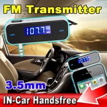 sale Newest FM Transmitter Wireless LCD 3.5mm In-Car Handsfree Black Music Audio FM Transmitter USB Music player Car Accessories(China)