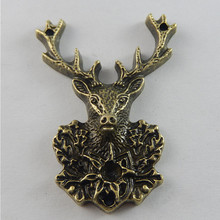 3pcs Antique Bronze Tone Deer Charms Necklace Pendant Jewelry Accessories Making Man Women Retro Style Jewelry 51*38*7mm 50703(China)