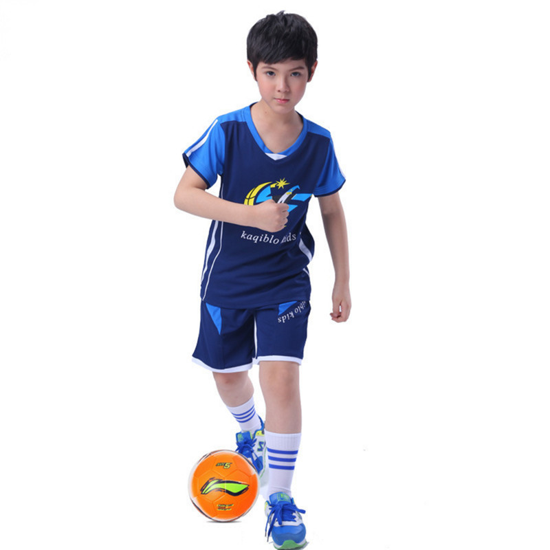 2017 Summer Boy Sport Suit Children Football Clothing Set V-neck Short Sleeve Sports Training Clothes Boys Jersey Team Clothing(China)