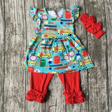 kids girls boutique clothing baby girls back to school clothing children car to school outfits with matching headband