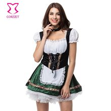 White/Green Beer Girl Fancy Dress Cosplay German Oktoberfest Maid Costume Sexy Halloween Costumes For Women Deguisement Adultes