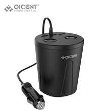 QICENT Cup Car Charger Multi-function 7.2A 3 USB Car-charger DC12-24V Cigarette Lighter Splitter For Iphone 7, GPS DVR Charge(China)