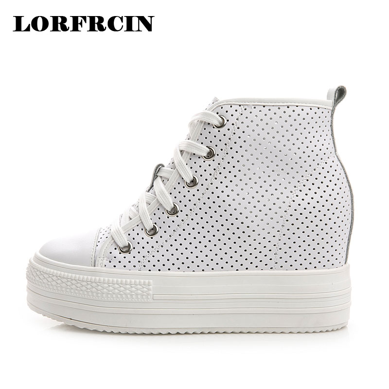 LORFRCIN Genuine Leather Platforms Shoes Woman Super High Heel Women Pumps Breathe Freely High Top Summer Autumn Women Shoes<br>