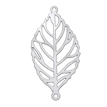 DoreenBeads Filigree Stainless Steel Connectors Jewelry Findings Leaf Silver Tone 30 x 15mm, Hole: 1mm 1 Piece 2017 new