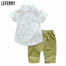 Fashion Kids Clothes Boys Clothes Baby Boys Summer Set Print Shirt + Short Pants Toddler Boy Clothing Set Baby Shorts Set 2017(China)