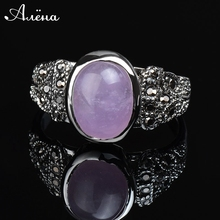 2015 New Fashion Vintage Rings Onyx Three Colors Silver Color Oval Vintage Ring Natural Stone Green Stone Pink Stone Ring